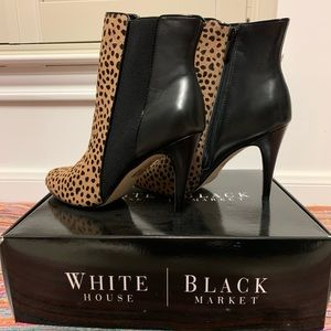 WHBM Black Leather Ankle Boots w. Animal Print NWT